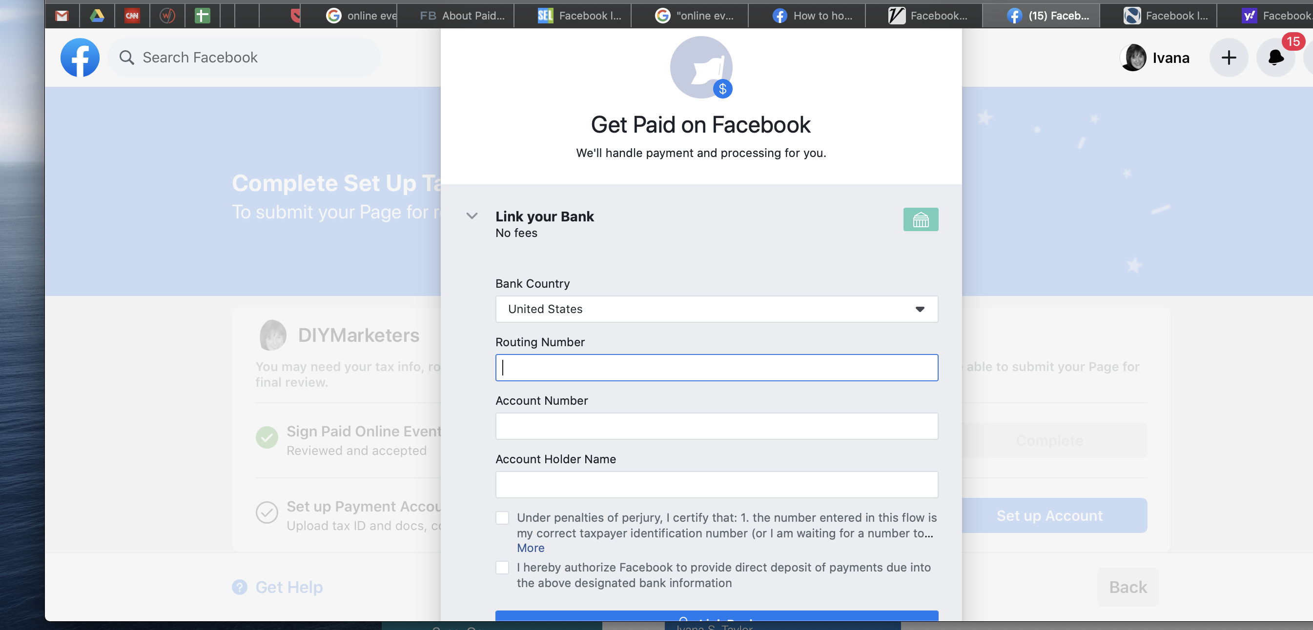 setting up Facebook online events, set up your payment either to your bank or to PayPal