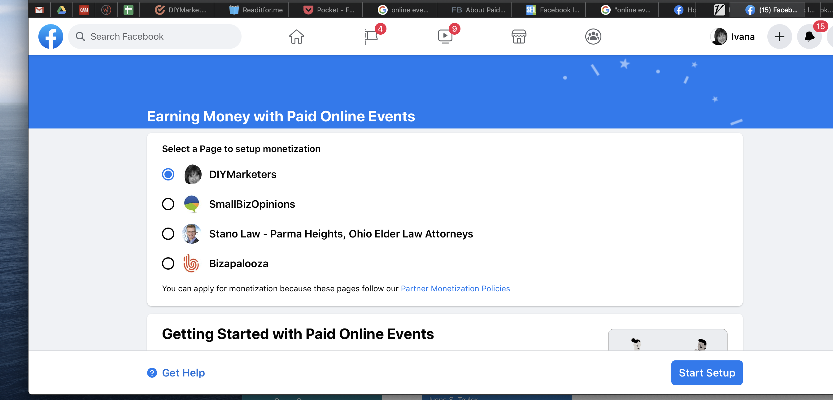 setting up Facebook online events - select business page